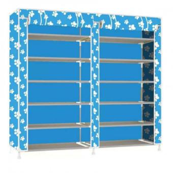 High Quality T-2712 Double Capacity 6 Layer Shoe Rack Shoe CabinetBlues Clues (Sky Blue)