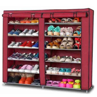 High Quality T-2712 Double Capacity 6 Layer Shoe Rack Shoe Cabinet(Red) Price Philippines