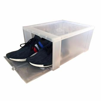 Hitop Drop Front Plastic Shoe Boxes stockable/Multi-purpose storagebox (Clear)