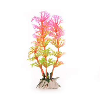 HKS Artificial Plastic Grass Fish Tank Ornament Pink (Intl)