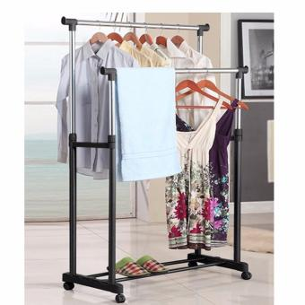 HM Clothes Drying Rack Adjustable Double Pole Rail Rod