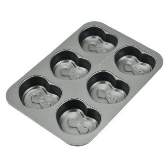 Hole Heart-Shaped 6 Non-Stick Cake Bread Mold (Silver) - Intl