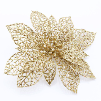 Hollow Christmas Flowers Xmas Tree Decorations Wedding Party Decor Ornaments(Gold)