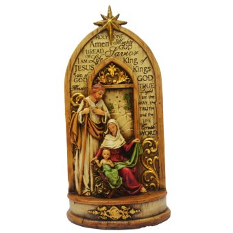 Holy Family The Holy One Religious Item (Jesus Christ - St. Joseph - Virgin Mary) Figurine for the Holiday (Made of Fiberglass Resin) by Everything About Santa (Christmas decoration and gift suggestion)