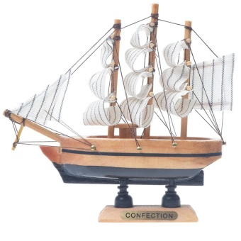 Home Decor Pine Wooden Nautical Sailing Ship Maritime Boat Model 30cm - intl