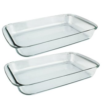 Home Discovery Heat Resistant Rectangular Tempered Glass BakingDish 2.5 Liter Set of 2