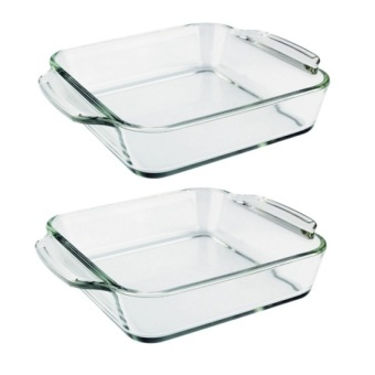 Home Discovery Heat Resistant Square Tempered Glass Baking Dish 1Liter Set of 2