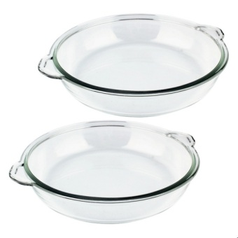 Home Discovery Heat Resistant Tempered Glass Round Bake Dish 12inches Set of 2