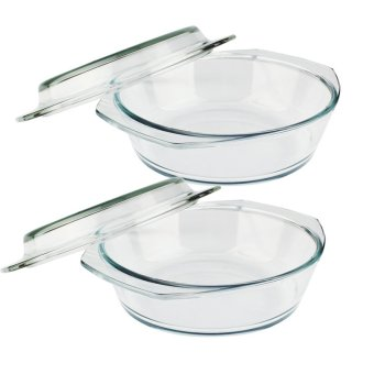 Home Discovery Heat Resistant Tempered Glass Round Casserole W/Cover 1.5 Liter Set of 2