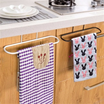 Home Living Bath Towels 3Pcs Kitchen Iron Door Rail Single TowelsShelf Bathroom Rack Holder Bar Hangers Hook - intl Price Philippines