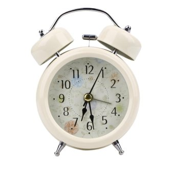 Home Retro Double Bell Desk Alarm Clock(White) - intl