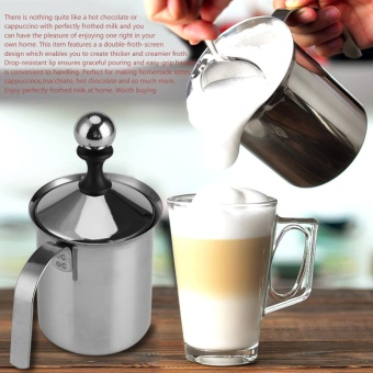 Home Stainless Steel Manual Milk Frother Double Mesh Coffee Cappuccino Foamer Creamer (400ML) - intl