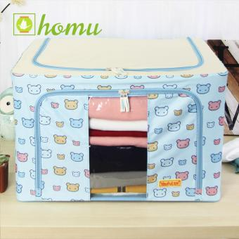 HOMU Clothes Blanket Storage Box Home Organizer 66L (Skyblue Bear)