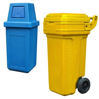 Hooded Bin Medium (Blue) and Roller King Small (Yellow)