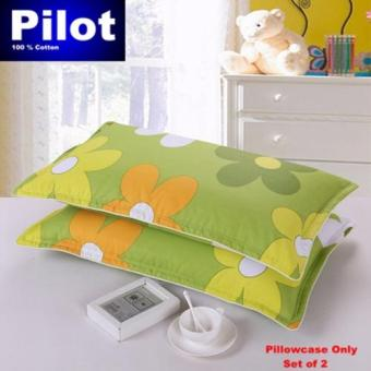 Hot Sale Pilot Bedding Pure Thick Cotton Fashion Print /ZipperDeluxe Hotel Home Resort Envelope Style Pillowcase Best Gift (GreenSunflower)