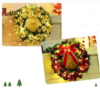 Hot Sales 40cm Golden Bow with LED String Light Christmas WreathBerry Garland Hanging Door Wall Decoration Hign quality - intl - 5