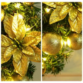 Hot Sales 40cm Golden Bow with LED String Light Christmas WreathBerry Garland Hanging Door Wall Decoration Hign quality - intl - 3