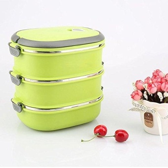 Hot Thermal Insulated Bento Stainless Steel Food Container LunchBox 1 2 3 Layer Styles:Single Layer Colors:Green - intl
