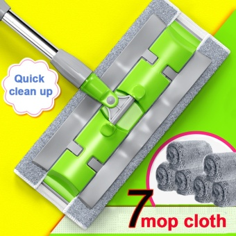 Household Cleaning Tools Floor Flat Mop (7 Mops Cloth)-Green - intl