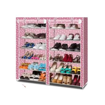 HS-6651 High Quality Cute 3D Design Wardrobe (WIND MILL Blue) withHigh Quality T-2712 Double Capacity 6 Layer Shoe Rack Shoe CabinetBlues Clues (Pink) - 3