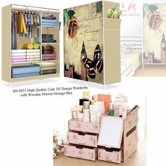 HS-6651 High Quality Cute 3D Design Wardrobe(Butterfly Design) withMultifunction Wooden Drawer Style Makeup Cosmetics Jewelry StorageBox Case Rack Organizer Light Pink (Floral Design)
