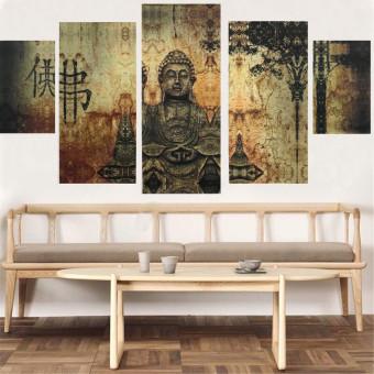Huge Buddha Abstract Canvas Art Oil Painting Modern Home Wall Decor Set No Frame - 3