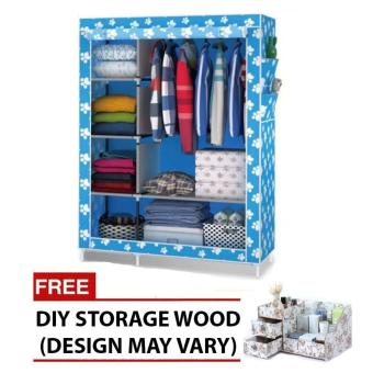 HXT-105NT Fashion Wardrobe (blue) with free DIY storage wood (color may vary)