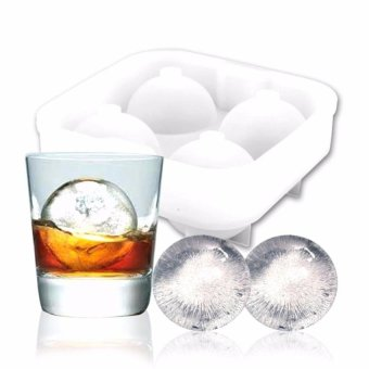 Ice Ball Mould / Ice Ball Maker,Ice Ball Maker Mold 4 WhiskeyIceballs - Premium Black Flexible Silicone Round Spheres IceTray-Molds 4 X 4.5Cm Round Ice Ball Spheres(White) - intl