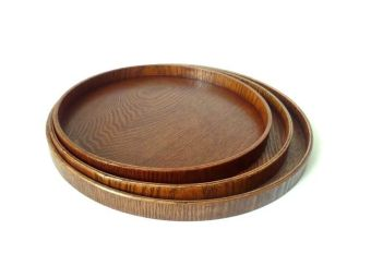IKEA brown European round plates wooden fruit bowl
