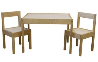 Ikea Latt Children's Table and Chairs (Wood Brown)