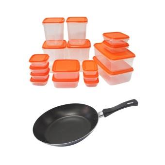 Ikea Pruta Foodsaver 17-Piece Set and IKEA STEKA Frying Pan Bundle (Orange/Dark Blue)