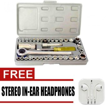 AIWA Best Quality 40 Pcs Auto Repair Hand Tool CombinationSocketWrench Set with free Stereo In-Ear Headphones for iphone(White) Price Philippines