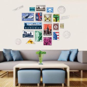 Harga Mimosifolia Stamp Background Wall Frame Wall Sticker Decal Wallpaper PVC Mural Art House Decoration Home Picture Wall Paper for Adult Kids - intl