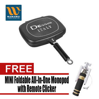 Harga Dessini Double Grill Pan 36 cm (Black) with Free Mini Foldable All-In-One Monopod with Remote Clicker (Black)