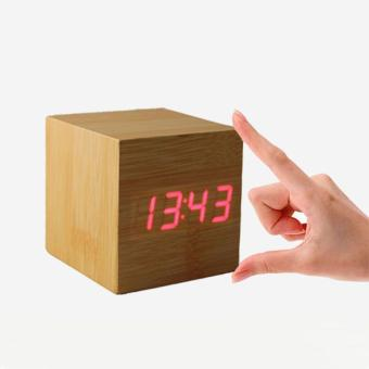 New Fashion Wood Digital LED Desk Alarm Clock(Bamboo red) Price Philippines