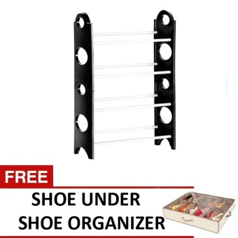 Stackable Shoe Rack (Black) with FREE Shoes Under Shoe Organizer Price Philippines