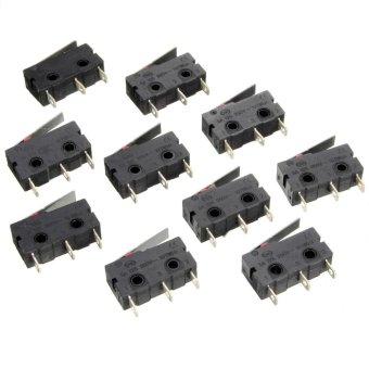 10pcs C+NO+NC Micro Limit Switch Roller Arm Lever Subminiature Black + Silver - intl Price Philippines
