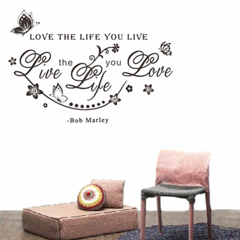 Harga BOB MARLEY Quote Love The Life You Live Vine Art Wall Sticker Decal Decor DIY