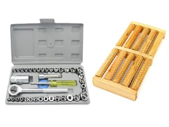 AIWA 40 Pcs Auto Repair Hand Tool Combination Socket Wrench Set With Wood Foot Massager Stress Relief wooden rollers Price Philippines