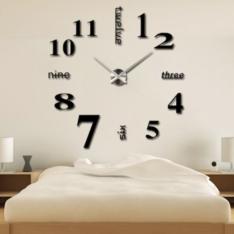 Harga Modern Simple Style DIY Large 3D Time Clock Wall Sticker