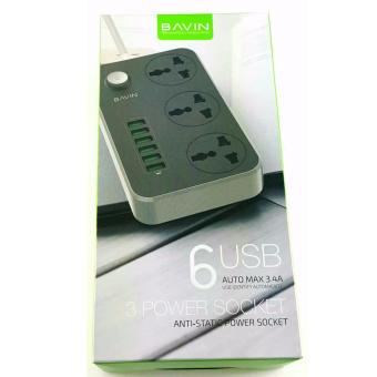 Harga Bavin 6 USB Port with 3 Power Socket Fast Charger