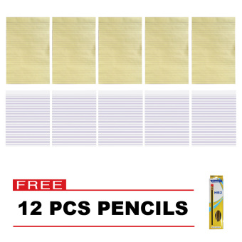 Asian Yellow Pad 5 & Paper Fox Intermediate Pad 5 Set of 10 with Free 12 pcs US-651-02 Pencil Price Philippines