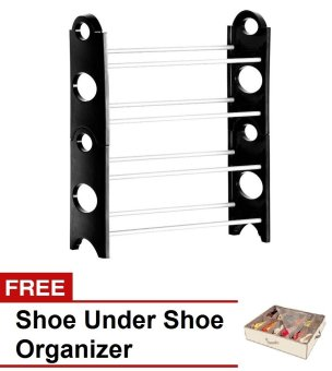 Stackable Shoe Rack with Free Shoes Organizer (Black) Price Philippines
