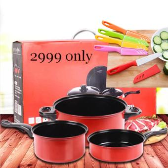 BIG SIZE 9 IN 1 As seen on TV Big promotion stainless steel pan and knife set Price Philippines