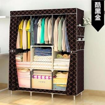 Fashion Large Size Quality Curtain Type Multifunctional Wardrobe Storage Lockers (Black/Coffee) Price Philippines