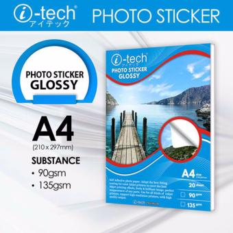 Harga i-Tech A4 Photo Sticker Glossy 90GSM 210x297mm 20 Sheets