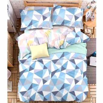 Harga MODERN SPACE High Quality US Cotton Fitted Bedsheet With FREE Two Pillow Cases Diamond Printed Design