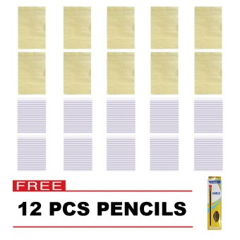Asian Yellow Pad 10 & Paper Fox Intermediate Pad 10 Set of 20 with Free 12 pcs US-651-02 Pencil Price Philippines