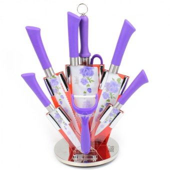 Bass Antibacterial 8-Piece Knife Set with Floral Design (Purple) Price Philippines