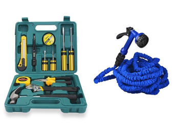 12pcs Professional Hardware Tools Set Accessory Repair Home Tool-Box Kits Case With Expandable Flexible Garden Hose 50ft Price Philippines